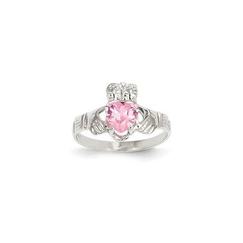 14k White Gold October Birthstone Claddagh Ring