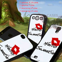 iphone 4/4s case kiss hello sweetie iphone 5 case, iphone case, samsung s3 i9300, samsung s4 i9500, cover plastic, accesories