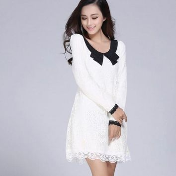 Spring New Arrival Women Fashion Sexy Lace Floral Patchwork Peter Pan Collar Long Sleeve Causal Dresses 4XL Plus Size Dress