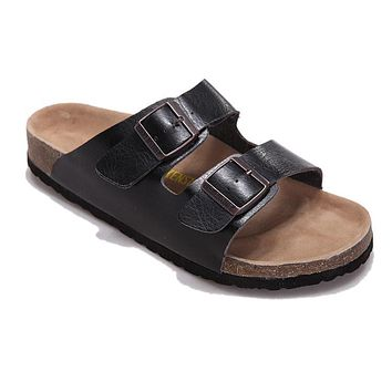 Birkenstock Arizona Sandals Soft Leather-black - Ready Stock