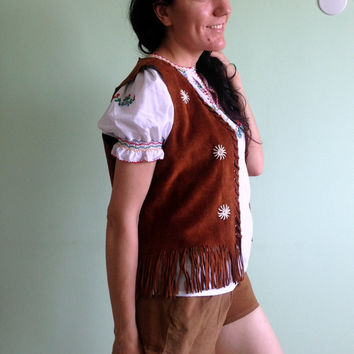 Festival Fringed Top, Suede Waistcoat, Camel Brown Tunic, Boho Chic Jacket, 70s Leather Vest, Southwest Clothing, Embroidery Tassels Vest