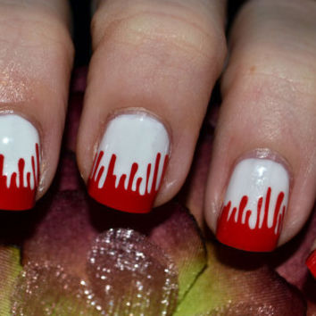 Blood Drip Red Vinyl Nail Decals - Halloween Collection- Set of 20