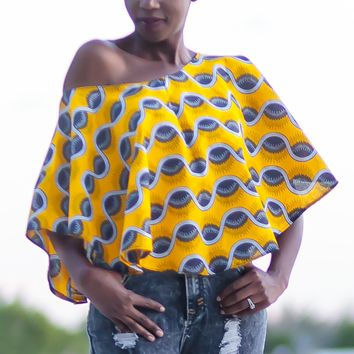 African Print Off-Shoulder Cape Top - Yellow Wavy with Blue Shells