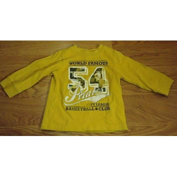 Place Long Sleeve Shirt Boys 18M Toddler Cotton Mustard World Famous 54 Pirates Basketball -- Used
