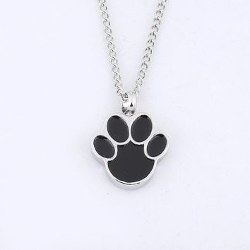 Dog Paw Pet Cremation Pendant Necklace Memorial Ash Urn Jewelry Keepsake Personalized Engraving