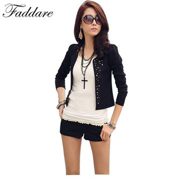 S~XXL New Lady's Long Sleeve Shrug Suits small Jacket Fashion Cool Women's Rivet Coat Black And White color