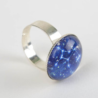 Beautiful handmade zodiac ring created of glass and metal for women Virgo
