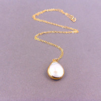 Pearl Necklace edged in 24k gold on gold fill chain - Coin Pearl Gold Pendant - Minimalist Everyday necklace