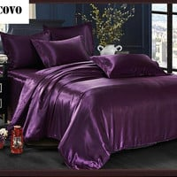 Vescovo Natural/mulberry silk comforter sets duvet cover bedclothes bed sheet queen size