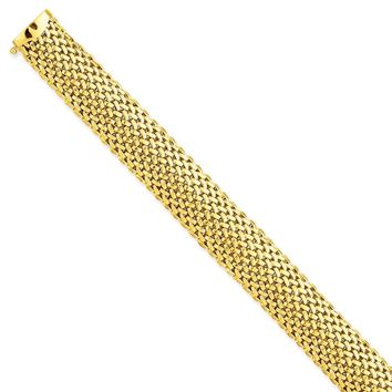 14k Yellow Gold 13.75mm Polished Mesh Bracelet
