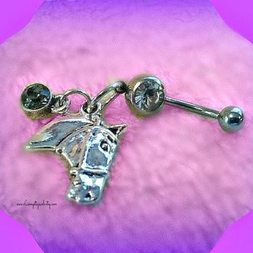 Western Horse Belly Ring,Belly Button Ring,Cowgirl Up,Body Jewelry,Country Music,Navel Piercing,Beach Wear,Ready to Ship,Direct Checkout