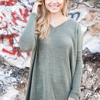 Adventure Awaits Piko Sweater, Army Olive