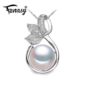 FENASY pearl necklace women,natural Pearl necklaces & pendants,sterling silver Bohemian party jewelry big flower pendant
