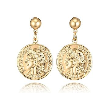 Tocona Vintage Avatar Coin Pendant Metal Drop Earrings Punk Gold Alloy Dangle Earring Brincos for Women Statement Jewelry 3459