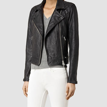 Womens Conroy Leather Biker Jacket (Ink) | ALLSAINTS.com