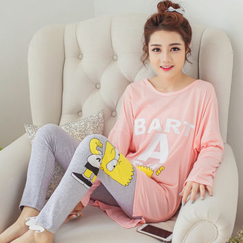 Women pajamas Fashion Women's Cotton Character Lovely Sweet Pajamas Sets plus Long Sleeve Sleepwear Nightwear home wear clothes
