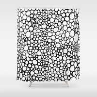 Shower Curtain 'Black and white bubbles'
