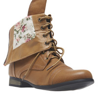 Rose Print Foldover Combat Boots | Wet Seal