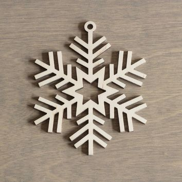 Wooden Snowflake 10 cm Christmas Decoration Laser Cut n.19