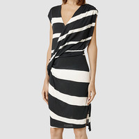 Womens Helix Stripe Dress (Chalk/Washed Black) | ALLSAINTS.com