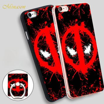 Minason Deadpool Logo Mobile Phone Shell Soft TPU Silicone Case Cover for iPhone X 8 5 SE 5S 6 6S 7 Plus