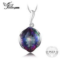 11ct Genuine Rainbow Fire Mystic Topaz Solid 925 Sterling Silver Pendant For Women 2016 Brand New Vintage Huge