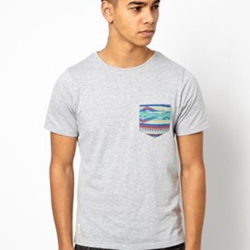 Native Youth T-Shirt With Geo-Tribal Pocket - Gray marl