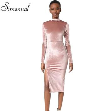 2017 Spring new vintage turtleneck velvet dress pink long sleeve side split sexy short midi dresses women clothing bodycon dress