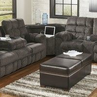 3 pc Acieona collection slate fabric upholstered sectional sofa set with recliners on the ends