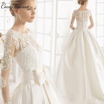C.V Short tailing satin princess lace wedding dress 2017 new long sleeve zipper back bow A line long wedding gown