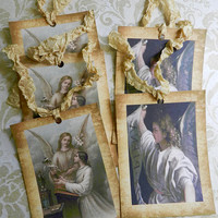 Angel Gift Tag Religious Gift Tags Seam Binding Ribbon Gift Tags Gabriel Archangel Tags