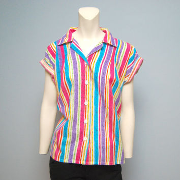 Vintage 1980's Women's Short Sleeve Button Down Shirt with Vertical Stripes and Crazy Pattern in Rainbow Colors