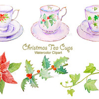 Hand drawn watercolor clipart - white christmas tea cups  instant download scrapbook christmas cards, greeting cards