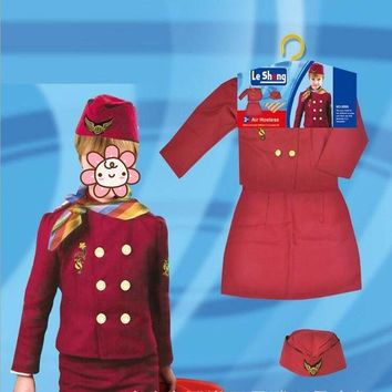 CREY6F Girl Formal Stewardess Uniform Police Cosplay Costume Halloween Dress Party Stage Performance Props