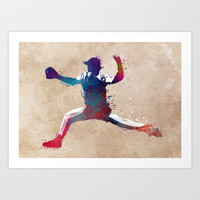Baseball player 8 #baseball #sport Art Print by jbjart
