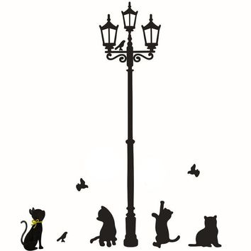 Cats Street Lamp Lights Stickers Wall Decal Removable Vinyl Decor