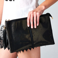 PERFORATED CONTRAST GOLD FRINGE CLUTCH - BLACK