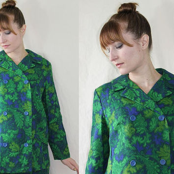 Vintage 1960s MOD JACKET Green & Blue Double Breasted Lightweight Blazer M-L c124