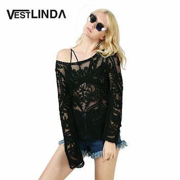 VESTLINDA Summer Autumn Lace Blouse Shirt Casual Round Collar Long Sleeve White Sexy See Through Black Lace Blouses Women Tops