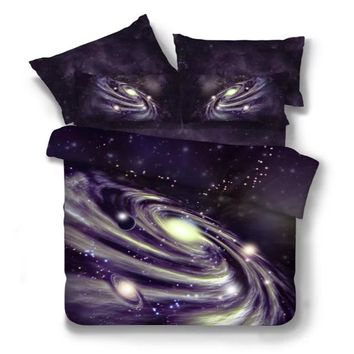 2017 New 4/2/3pcs Galaxy 3D Bedding Sets Universe Outer Space Duvet cover Bed Sheet / Fitted Bed Sheet pillowcase Twin queen