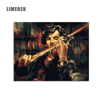 Sherlock Holmes Violin DIY Digital Painting By Numbers Acrylic Paint Abstract Modern Wall Art Canvas Painting For Home Decor