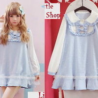 Kawaii Sweet Gothic Lolita Punk Pretty Girls BOWS Lace Shirt Dress Onepiece