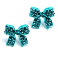 Fashion Crystal Pave Bow Ribbon Stud Earrings Teal