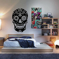Day of the Dead Sugar Skull Sticker Wall Art Decal Vinyl Dia Los Muertos Mexico