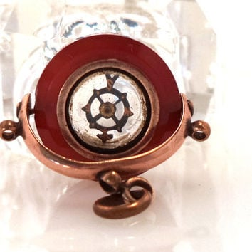 Antique Gold Filled Carnelian Stone Compass Watch Fob Pendant