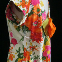 Vintage 60s Watteau Back HAWAIIAN CAFTAN Dress Hostess Gown Maxi by PIKAKE Bust 41""