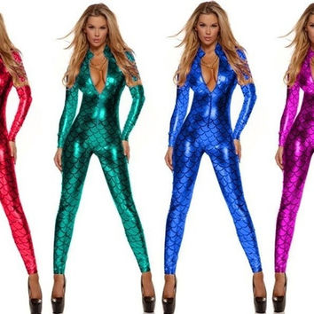 Metallic Bodysuit Fish Scales Mermaid Costume Catsuit Unitard Front Zip = 1958379076
