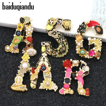 baiduqiandu Letters Design Brooches Pins English Letter Personalized Brooches with Crystal Clothing Accessories For Women Gift