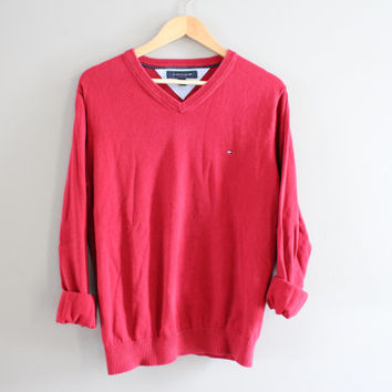 Tommy Hilfiger Sweater Red Cotton Sweater Red Pullover Slouchy Sweater V-neck Unisex Knit Minimalist Vintage 90s Size M - L