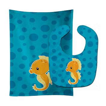 Nautical Seahorse Baby Bib & Burp Cloth BB8895STBU